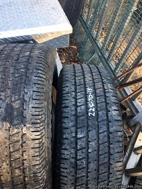 2 - 225 X 70 X 15 UNIROYAL LAREDO TIRES