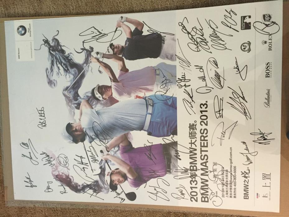 2013 BMW MASTERS signed POSTER RORY McILROY  danny willett DALY +37 PSA DNA AUTO