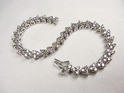 DAZZLING DIAMOND TENNIS BRACELET 5.0 CARAT TOTAL    14KT WHITE GOLD