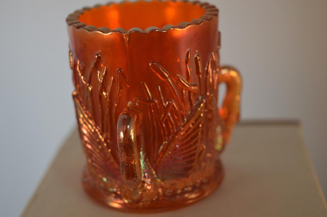 TOOTHPICK HOLDER THREE SWAN HANDLE MARIGOLD CARNIVAL GLASS TOOTHPICK HOLDER