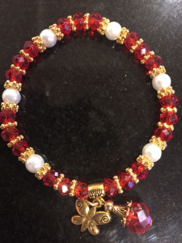 Red w/ White Beads & gold Metal Bracelet -Stretchable
