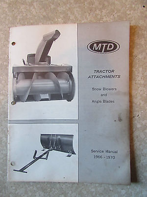 Snow Blowers & Angle Blades  MTD Tractor Attachments Service Manual 1966-1970