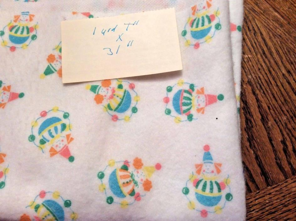 Vintage Soft White Fabric With Clowns...1yard....Baby / Quilting /Crafts