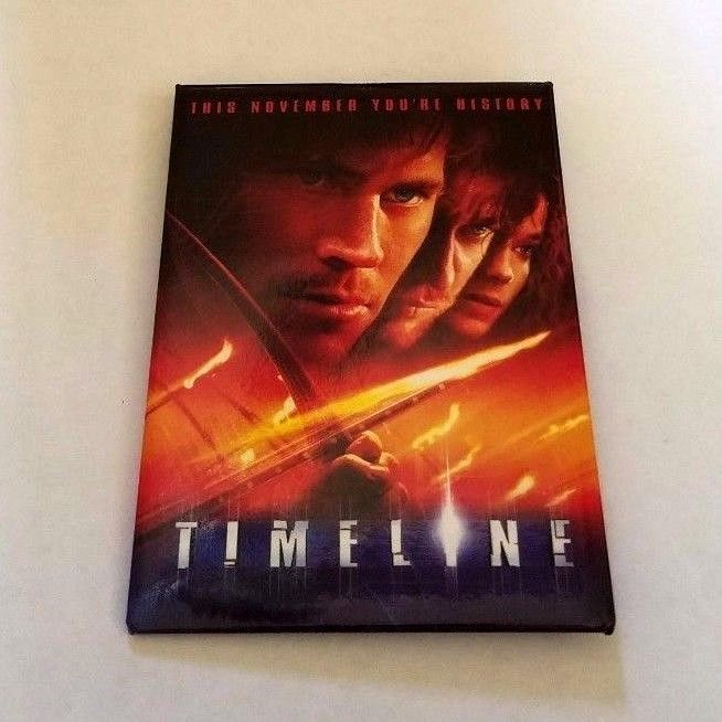 RARE 2003 TIMELINE MOVIE PROMO PIN - PAUL WALKER GERARD BUTLER TIME LINE BUTTON