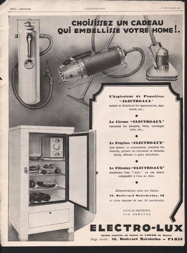 1928 ELECTRO LUX HOUSEHOLD APPLIANCE VACUUM WATER PARIS13490