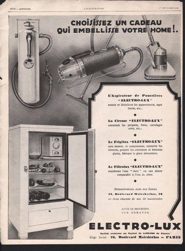 1928 ELECTRO LUX HOUSEHOLD APPLIANCE VACUUM WATER PARIS13490