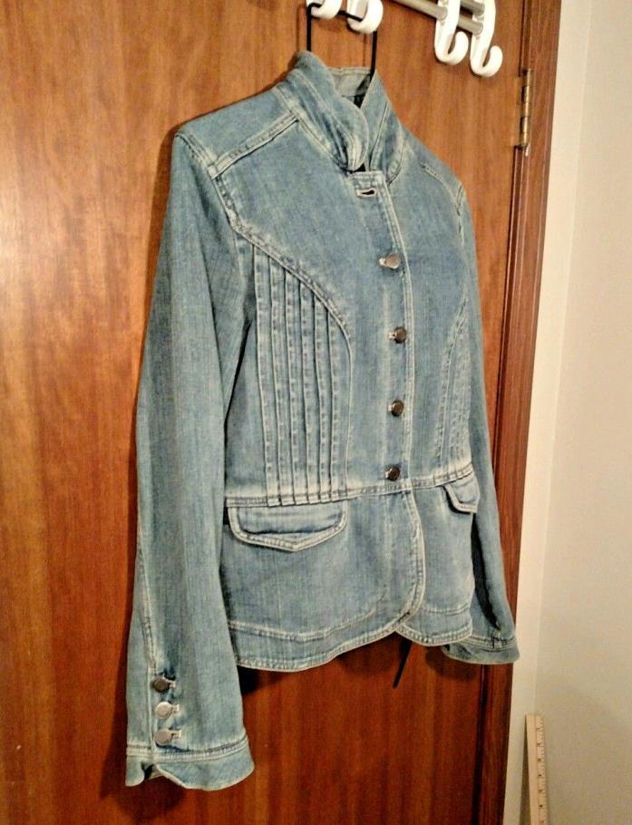 J Jill Military Uniform Detail Inspired Sz S Denim Jean Jacket