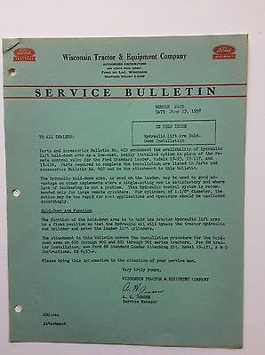 Original 1958 Service Bulletin- Hyd Lift Arm Hold Down- Ford Tractor 601 801 +