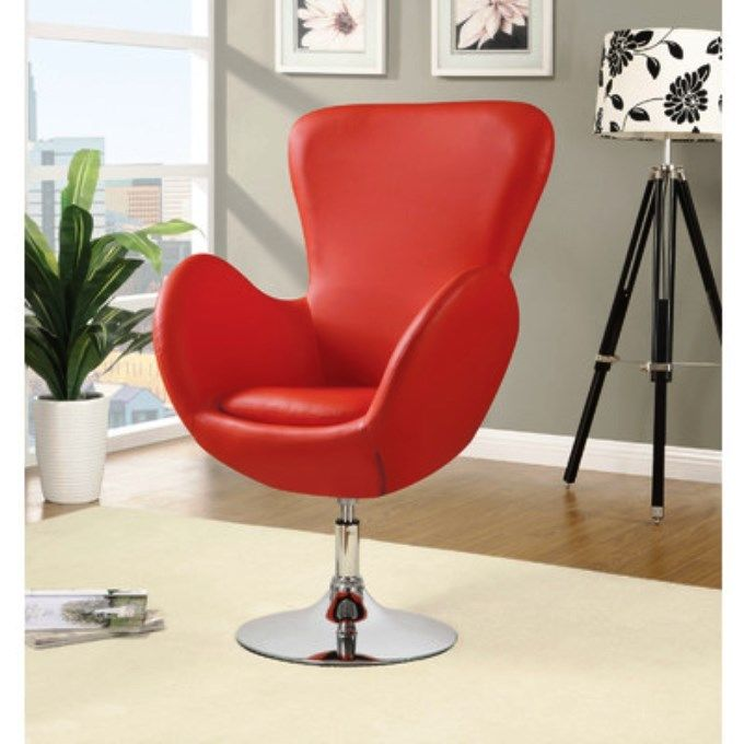 Funky Modern Arm Chair Red Swivel Design Faux leather Home Office Faux Leather