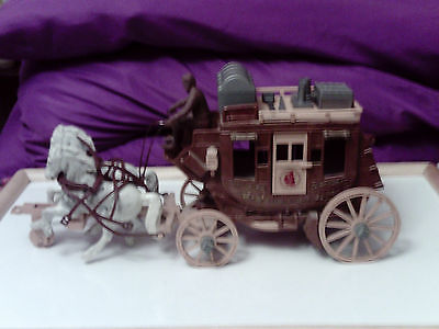 Vintage 1950 Roy Rogers StageCoach, Cowboy, Two Horses, Whip &Accesories