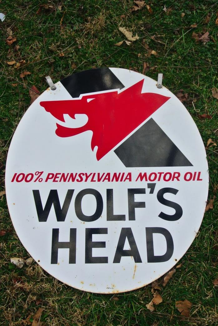 1970 Wolfs Head Sign Tin Pennsylvania Motor Oil Double Sided Gas Station Advert
