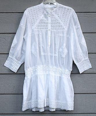 New DENIM & SUPPLY Sz S White 100% Cotton 3/4 Sleeve Crochet Tunic Dress