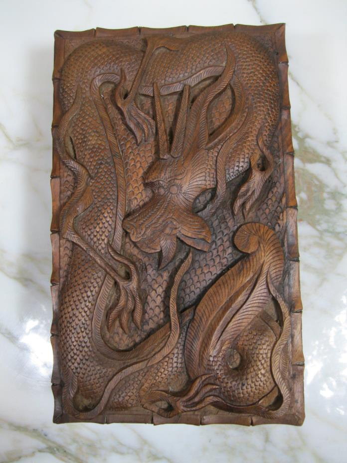 Mid Century Sandalwood Hand Carved Vintage Chinese Box Depicting Dragon