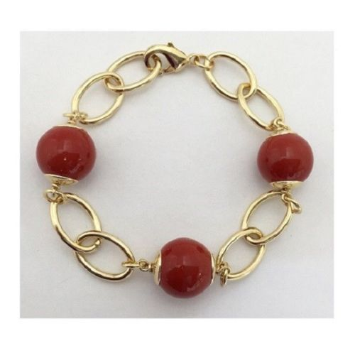 Red Coral Mallorca Pearl Bracelet Gold Plated Chain Link
