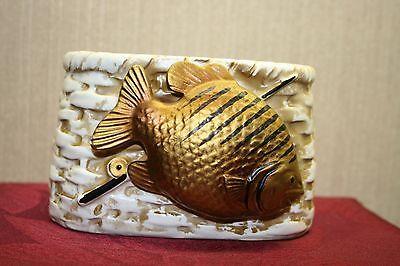 Vintage Napco Fish Basket Fishing Planter Vase