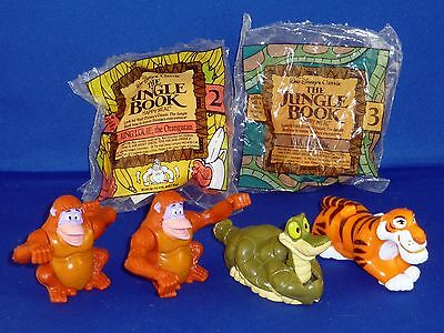 Set of 6! McDonald's 1989 Happy Meal Disney Jungle Book Windup Toys, some sealed