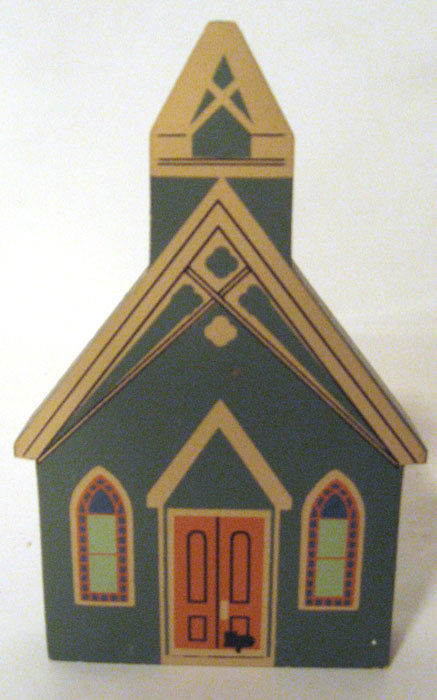 CAT'S MEOW FIGURING ALL SAINT'S CHAPEL 1991 CHURCH WOOD FIGURINE
