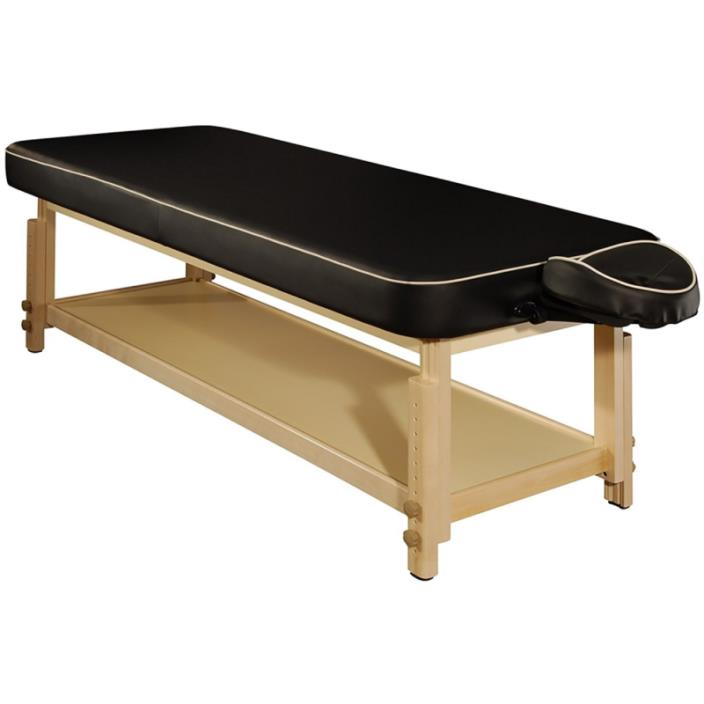 MT Harvey-Comfort Flat Stationary Massage Table for Spa, Salon, Beauty Use(Black