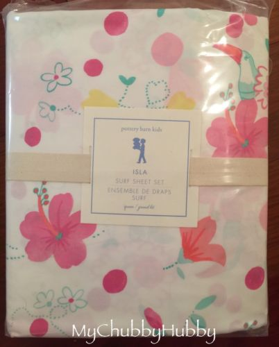 NWT Pottery Barn Kids ~ISLA SURF~ *QUEEN* SHEETS Beach Pink ~TROPICAL~ SOLD OUT!