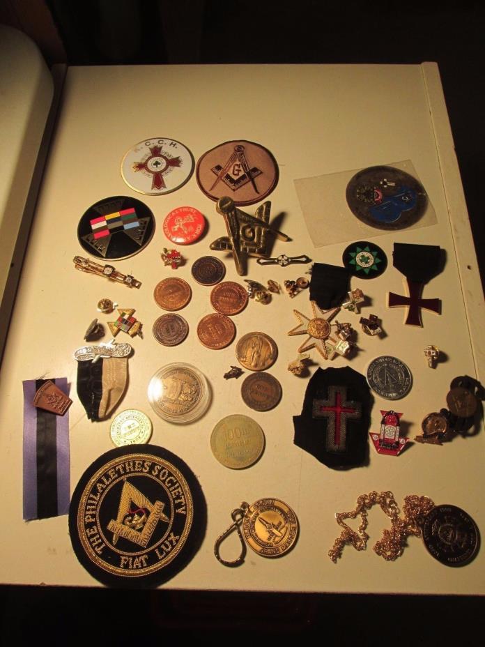Vintage Lot of Masonic Tokens Patches Pins Medals Freemasonry Masons