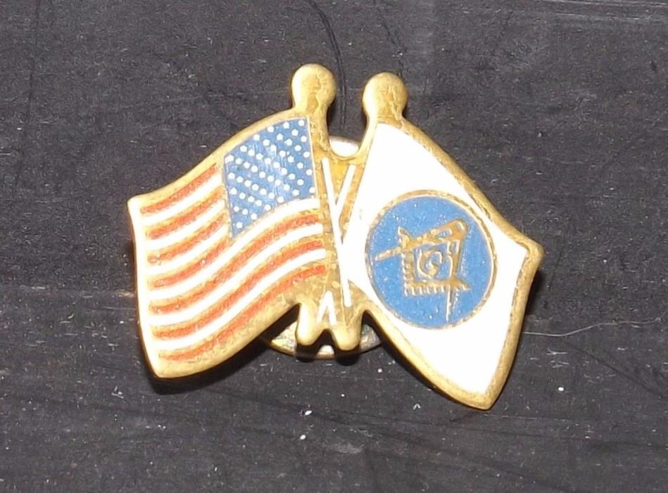 US Flag / Masonic Mason Lapel Hat Pin Vintage