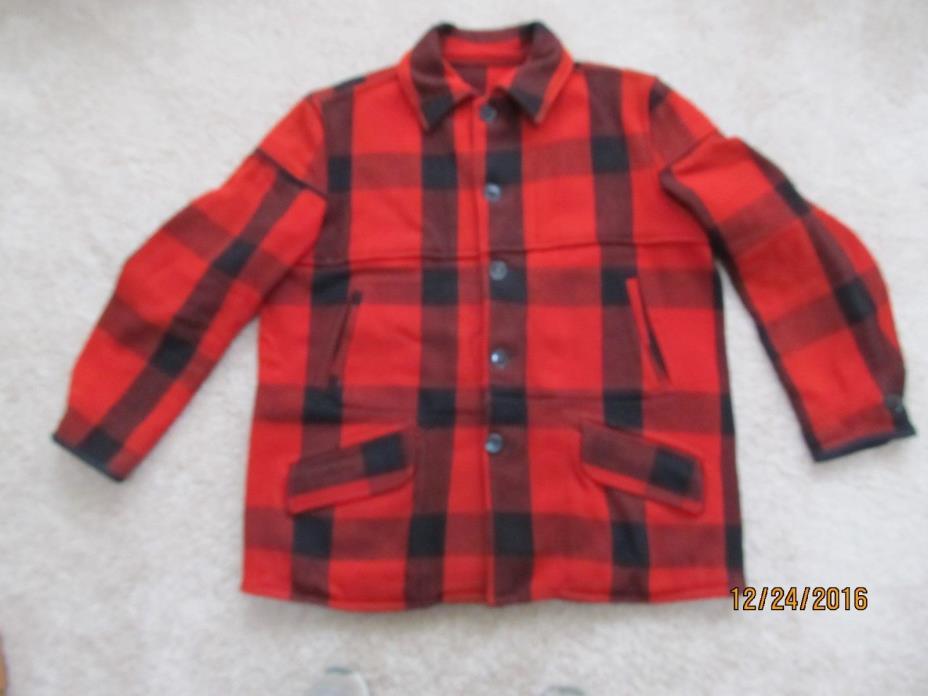 MENS CHIPPEWA FALLS WOOLEN MILL HUNTING JACKET, RED/BLACK PLAID. NO WORN SPOTS