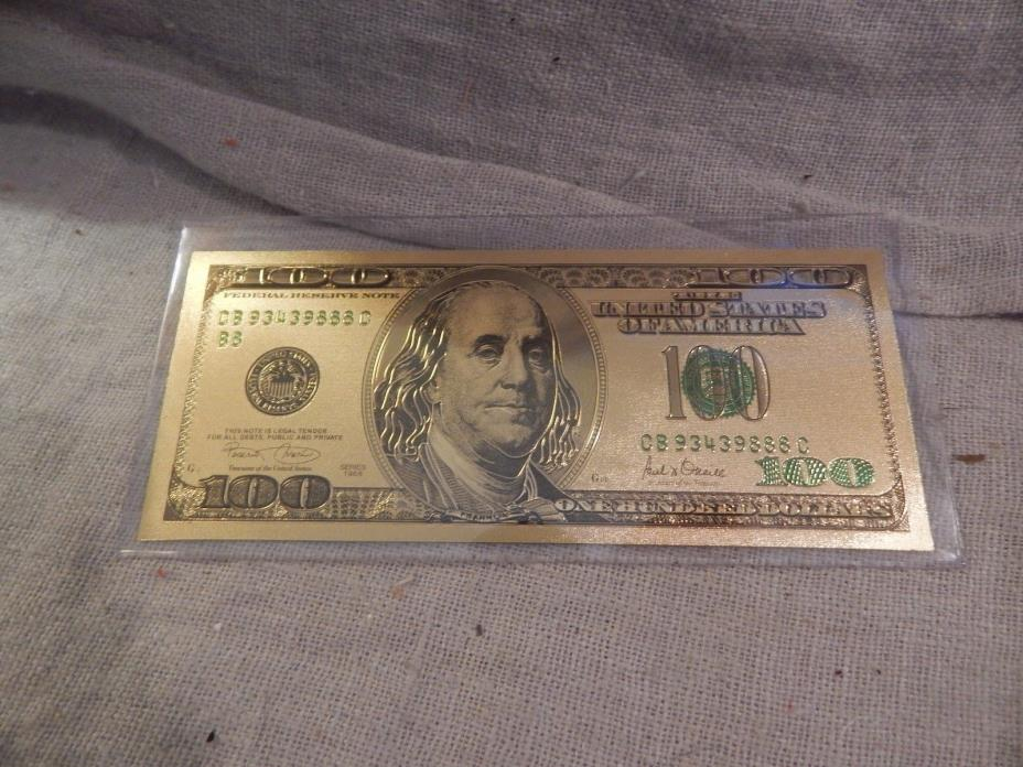 24k Gold Plated $100 Bill