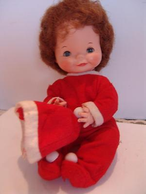 VINTAGE-RELIABLE-BABY-DOLLCUTE BABY-FACE-RUBBER-DOLL   10 in red pj