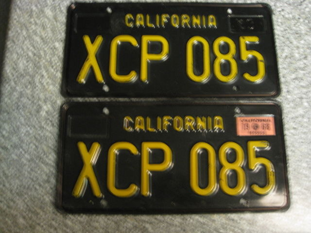 1963 California License Plates, 1968 Validation, DMV Clear Guaranteed, EX