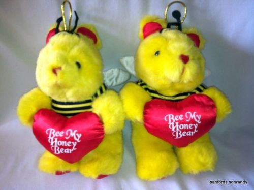 Set of 2 BEE MY HONEY BEAR Valentine's Day BUMBLE BEE Plush Stuffed Animal Toys