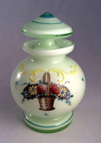 Antique Czech Czechoslovakia Cased Glass Perfume Bottle Enamel Flower Basket