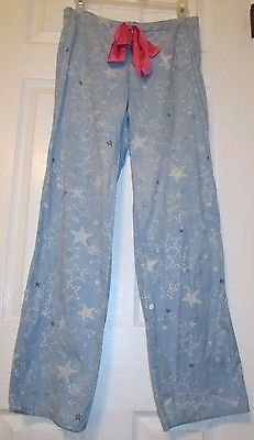 Victoria's Secret PINK Pajama PJ Sleep Lounge Pants Blue White Stars Cotton XS