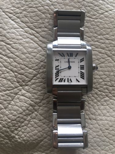 100% AUTH Ladies Cartier Tank Francaise Stainless Steel Midsize 2301 Watch