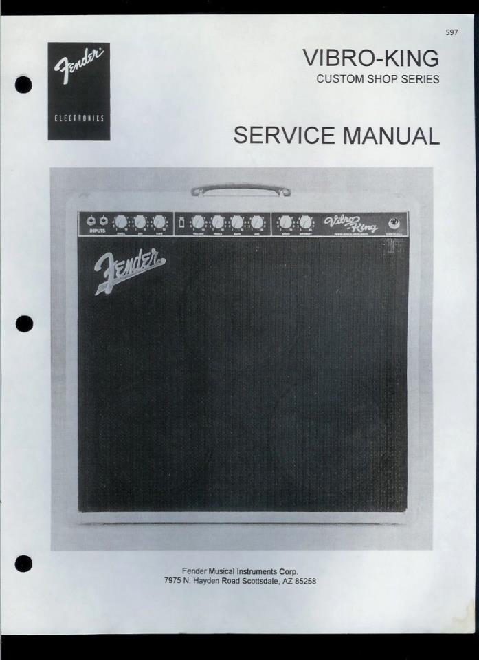 Copy Fender Vibro-King Custom Shop Guitar Amplifier Parts List & Schematic(s)