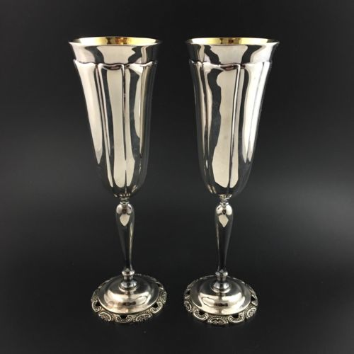 PAIR Wallace Baroque CHAMPAGNE Flutes Silver Plate silverplate Gold Wash