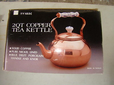 Solid Copper Tea Kettle with Porcelain Handle, 2 quart, New,