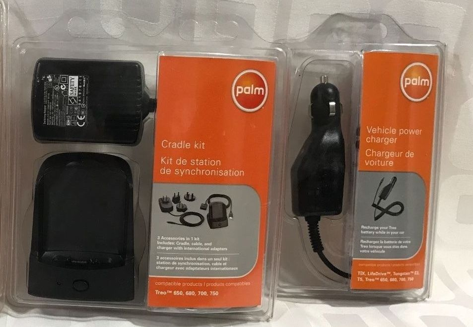 Brand New!  PALM CRADLE KIT and Car charger Combo for Treo 650 680 700 750