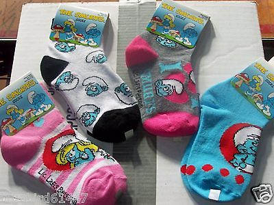 The Smurfs lot of 4 pair socks size 4-6 shoe size 7-10 New
