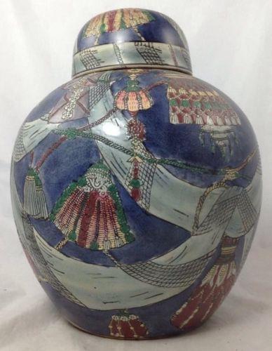 Vintage Hand Painted Chinese Porcelain Jar Festive Colorful Blue Ribbon