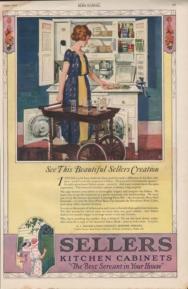 1920 SELLERS KITCHEN CABINETS FURNITURE ELWOOD HOME AD7231