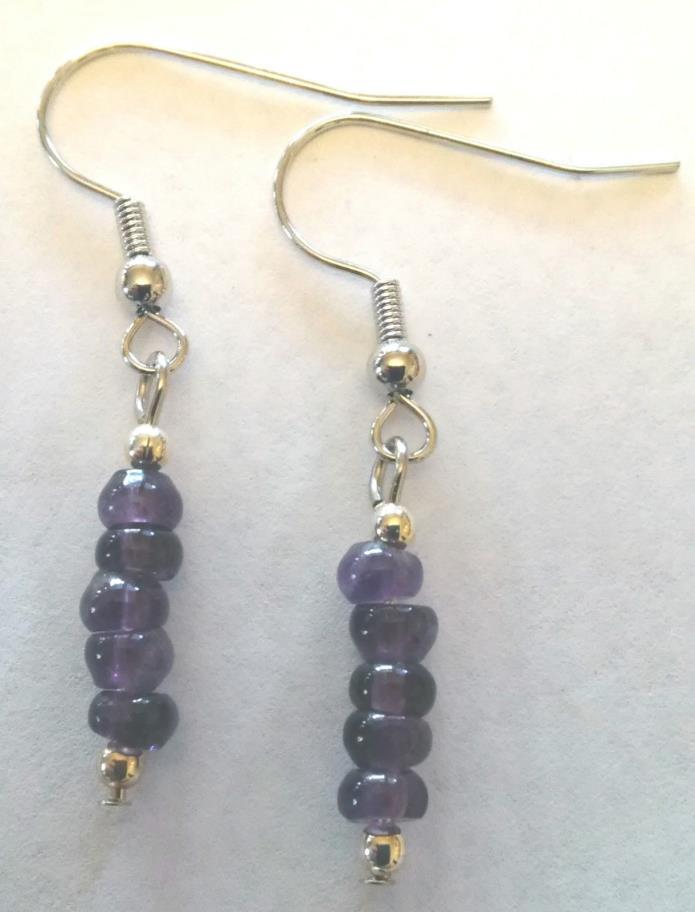 Purple Amethyst Heshei Beads, Bracelet  Earring Set, Beautiful Purple Colors