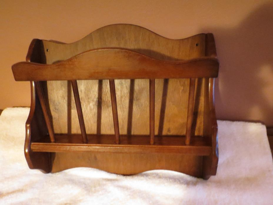 Vintage  Solid Wood Wall Mount Magazine Book Rack Holder