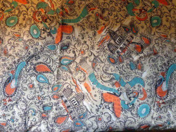 Vintage 'Cold' Rayon paisley print Fabric, 38