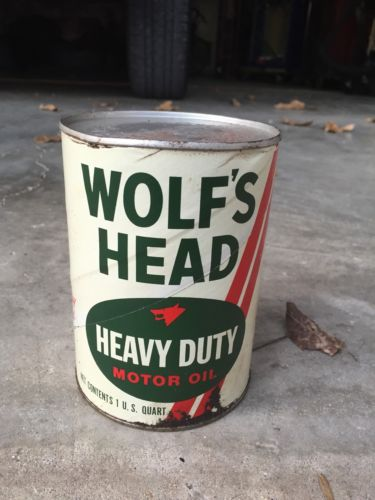 Wolf's Head Vintage Oil Can Unopened FULL 1 QT Motor Oil - Not Porcelain Sign