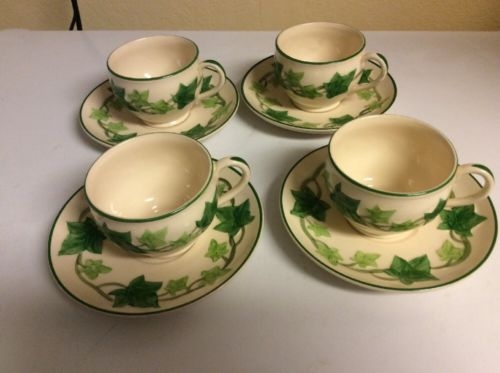 Set of 4 Vintage FRANCISCAN IVY Tea/Coffee Cups and Saucers California USA