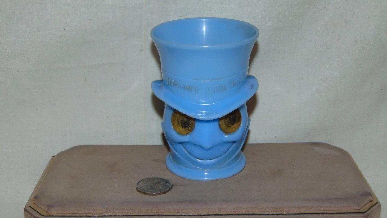 JIMINY CRICKET GOOGLY EYES BLUE PLASTIC CUP WALT DISNEY PRODUCTIONS