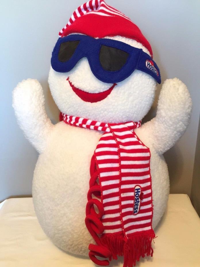 LARGE COLLECTIBLE HOSTESS SNOWMAN Plush Stuffed Hat Scarf Sun Glasses Winter