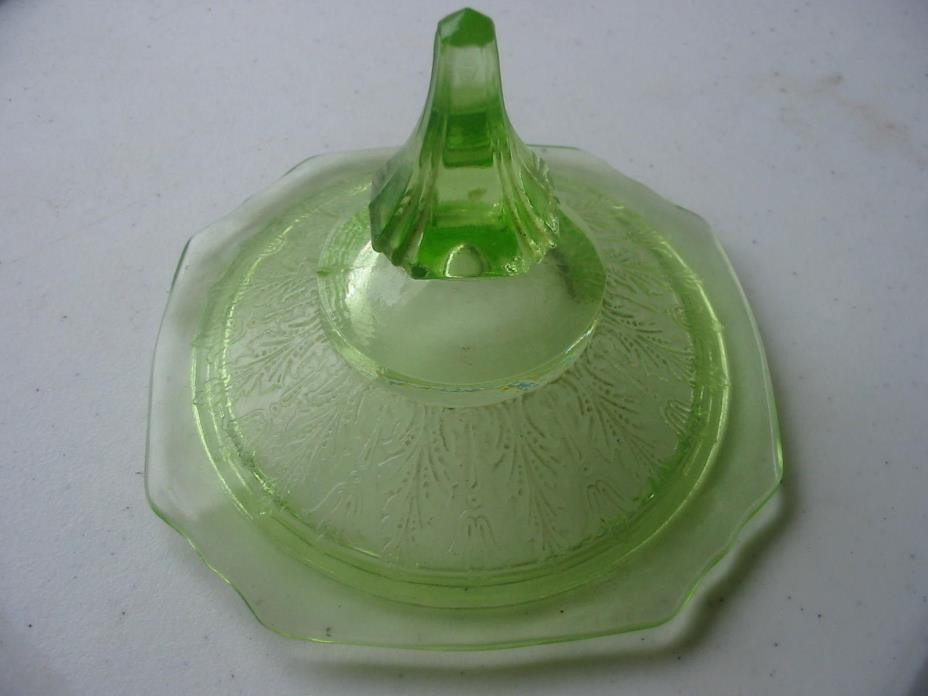 Depression vaseline candy dish glass lid