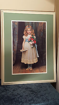 Vintage Crewel Embroidery Needlepoint Finished Girl w/Flowers Picture