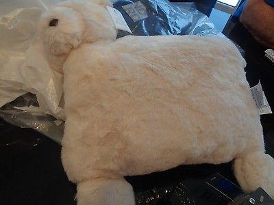Pottery Barn Kids Faux fur Ivory bear pillow decorative New